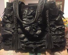Old Gringo Black Pebbled Leather Fringe Tassel Handbag Tote *RARE*