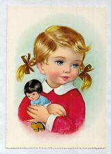 S0390cgt Cute Girl with doll pink jumper Kruger vintage postcard