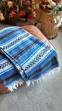 Mexican Falsa Blanket *Yoga* Mat Vintage X Large throw handwoven Blue/Gray