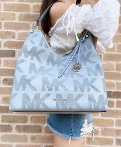 Michael Kors Joan Large Pale Blue Logo Perforated Leather Slouchy Shoulder Bag