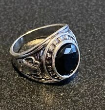 Vintage Boho Stainless Steel Onyx Faceted Signet Ring - Size 10 T1/2 T0.5