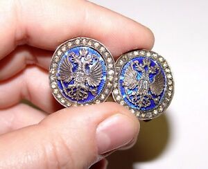 1886-1903 Diamond Cufflinks by Mikhail Perchin Enamel, Gold & Diamonds FABERGE