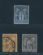 FRENCH COLONIES 1878, Mi. 36-37 and 39 used, very fine!