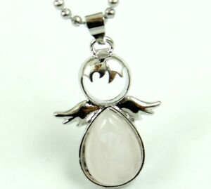 Natural Rose Quartz Gem Angels Shape Pendant Jewelry Stainless steel necklace
