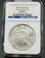2006 1 OZ American 1oz .999 Silver Eagle Coin NGC MS69 Early Releases