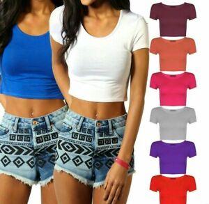 Womens Cap Sleeve Crop Top Ladies Round Neck Stretch Plain Vest T Shirt