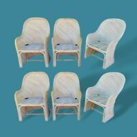 Set of Six 6 Sculptural Split Rattan Barrel Dining Chairs Skirted Crespi Style