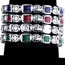4-RING COMBO #5_GEOMETRIC CZ ETERNITY BAND RINGS_SIZE-7__925 STERLING SILVER
