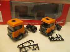 HERPA     ---  2 x v LKWs  --  kommunal orange ---  SCANIA