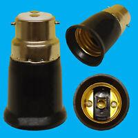 Black BC B22 To ES E27 Screw Light Bulb Adaptor Lamp Fitting Converter Holder