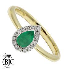 Emerald Pear Natural Fine Gemstone Rings