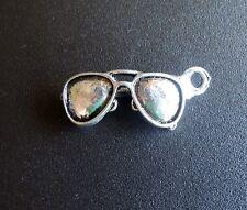 Sunglass Charms - Aviator Glasses - Beach, Summer - Antique Silver - Set of 10