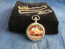 VOLKSWAGON VW BEETLE CHROME POCKET WATCH WITH CHAIN (NEW)