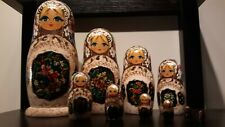 Most Beautiful Russian Matryoshka 10 Piece Very Colorful Gold. hand-painte