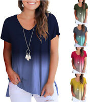 Womens Casual Loose Gradient Color V-Neck Short Sleeve T-shirt Tops Blouse Tank