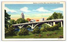 Mid-1900s Lansing, MI, Skyline from South Cedar Street Postcard