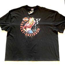 Harley Davidson Pin Up T-Shirt Men's Size 4XL Black 2 Sided Orlando Florida NWT