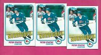 3 X 1981-82 TOPPS # 39 NORDIQUES PETER STASTNY ROOKIE NRMT-MT CARD (INV# D7342 )