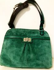 B Makowsky Women's Green/Brown Leather/Suede Cross Body Shoulder Bag
