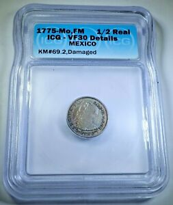 1775 Mexico Silver 1/2 Reales Genuine Antique 1700s Spanish Colonial Pirate Coin