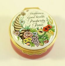 Halcyon Days England Happiness Good health Prosperity Enameled Pink Trinket Box