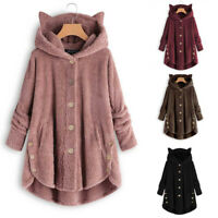 Women Button Coat Solid Tops Hooded Pullover Loose Sweater Blouse Plus Size Coat