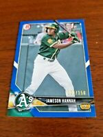 JAMESON HANNAH 2018 BOWMAN DRAFT CARD BD-160 REDS (ROOKIE BLUE PARALLEL) SP/150