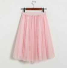 Women Summer Tutu Skirt Pleated 3 Layers Tulle Midi Skirt High Waist Petticoat
