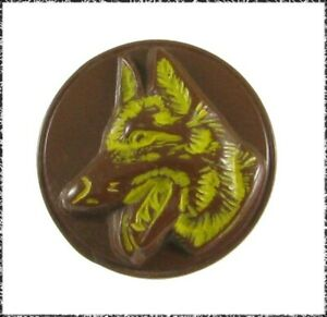 Vintage Brown Plastic German Shepherd Button w/ Italian Backmark