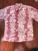 Cooke Street Honolulu Hawaiian Aloha Short Sleeve Red Floral Button Shirt Mens X