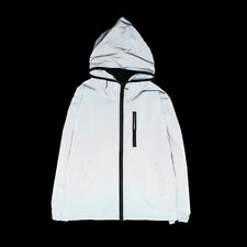 3M Reflective Hooded Biker Jacket Travel Hip Hop Dance Coat Zip Windbreaker Mens