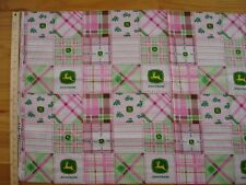 John Deere Madras Plaid Pink Farm Machinery Cotton Quilt Fabric Panel Blocks