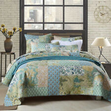 Floral Patchwork Quilted Bedspreads Set Queen/King Size Coverlet Bed Cover Set