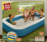 Play Day Inflatable 10-Foot Rectangular Family Swimming Kiddie Pool - NEW/SEALED