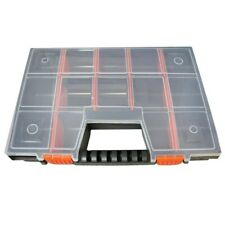 Plastic Storage Tool Box With 14 Compartment Organiser Bolts Screws Carry Case