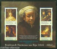 ANTIGUA 400th BIRTH OF REMBRANDT  SHEET SC#2917   IMPERFORATE MINT NH