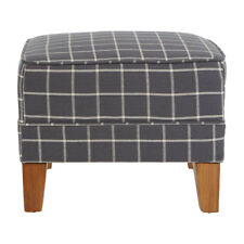 Premier Wooden Grey Footstool Woven Linen Cotton Home Ottoman Furniture Chair