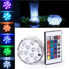 10 LED Multi-color Submersible RGB Party Base Light with 24Key Remote Control US