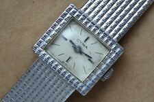 Ladies white gold plated Cyma watch, good condition, but not running. 17 jewels.