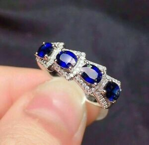 4Ct Oval Blue Sapphire Wonderful Eternity Wedding Band Ring 14K White Gold Over