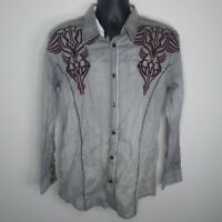 Roar Signature Stonehenge Gray Long Sleeve Embroidered Shirt Size Men's Medium