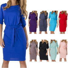 Women's Ladies Shift Dress With Belt Boat Neck 3/4 Sleeve Tunic UK Size 8-24