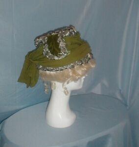 Antique Vintage Hat Edwardian Blue/Green Straw NY Label Chiffon Trim