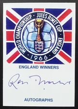 Ron Flowers Autograph England 1966 World Cup Signed Jules Rimet Card