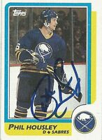 1986-87 Topps Signed Phil Housley Buffalo Sabres Hockey Card #154