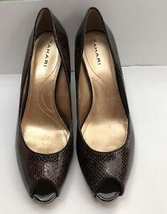 Tahari Brown Snake Skin Print Leather Peep Toe High Heels Shoes Size 7M