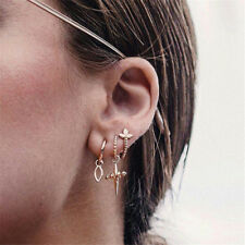 5Pcs/set Women Girl Bohemian Ear Stud Gold Lotus Cross Branches Earrings Fashion