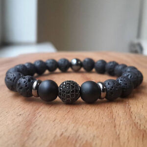 Charm 8MM Zircon Ball Lava Rock Gunmetal Bracelet Gemstone Beaded Mens Bracelets