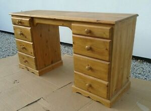 """4' 6"""" Solid Pine 8 Drawer Twin Pedestal Desk Kneehole Dressing Table Home Office"""