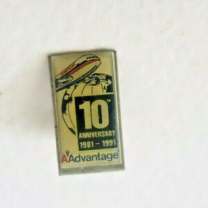 American Airlines Advantage 10th Anniversary Pin 1981 - 1991 Lapel Pin Pin Back